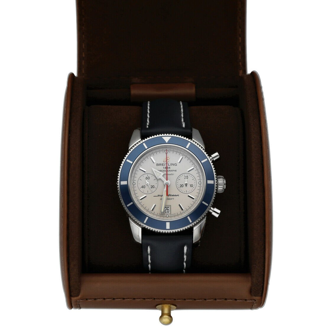 Breitling A23370 Superocean Heritage 44 Silver Chrono Leather Auto Mens Watch 114428920667 8