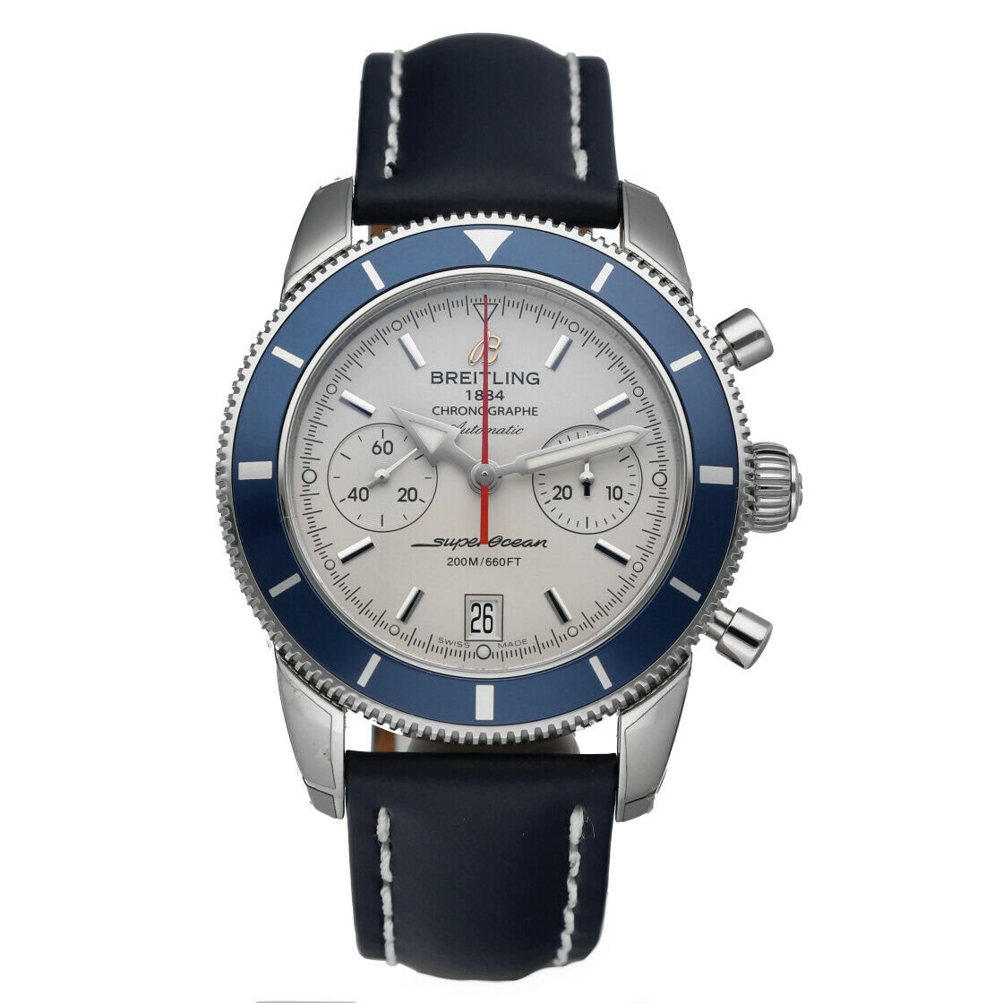 Breitling A23370 Superocean Heritage 44 Silver Chrono Leather Auto Mens Watch 114428920667