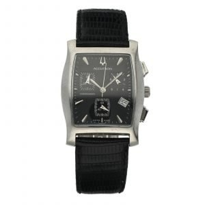 Bulova Accutron 26B19 Chronograph Black Dial Steel Tonneau Quartz Mens Watch 124570459717