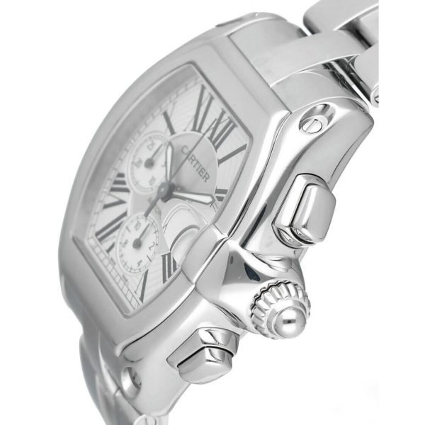 Cartier Roadster 2618 Chronograph XL Silver Dial Stainless Steel Mens Watch 124414582787 3