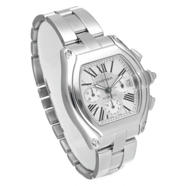 Cartier Roadster 2618 Chronograph XL Silver Dial Stainless Steel Mens Watch 124414582787 4