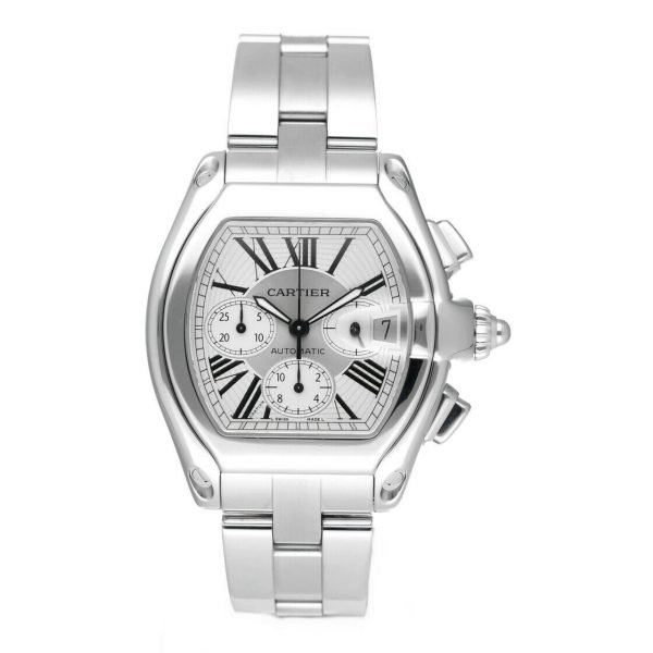 Cartier Roadster 2618 Chronograph XL Silver Dial Stainless Steel Mens Watch 124414582787