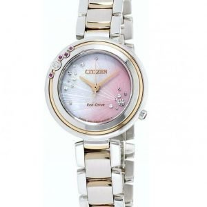 Citizen Eco Drive EM0466 53N MOP Diamond Dial Two Tone Steel Womens Watch 131931800567