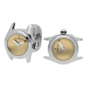 Corum Bubble Mini L13703608 Steel Gold Dial Polished Round Mens Cufflinks 133485448827