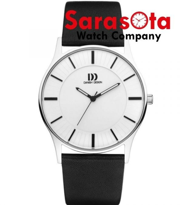 Danish Design IQ12Q1006 White Dial Stainless Steel Black Leather Mens Watch 112216557127