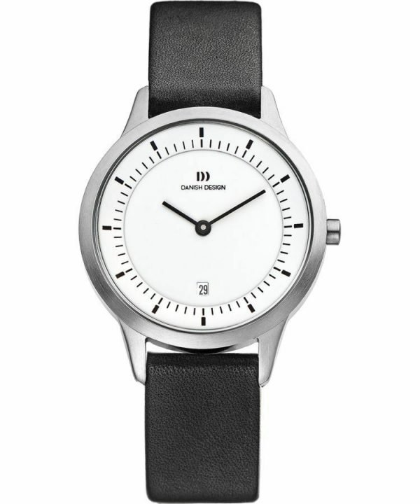 Danish Design IV12Q984 White Dial Stainless Steel Black Leather Womens Watch 122241563737
