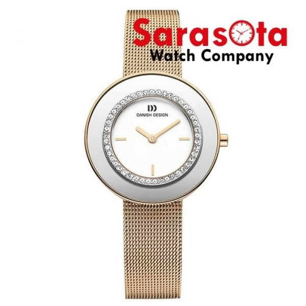 Danish Design IV67Q998 White Dial Rose Gold Tone Steel Crystal Womens Watch 112216491337