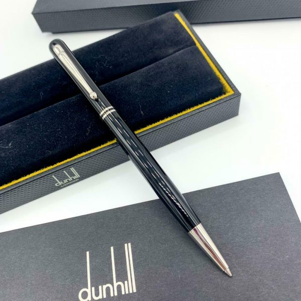 Dunhill Black Lacquer Silver Finish 55 Ballpoint Pen 94 mm Thickness 113933081747 6