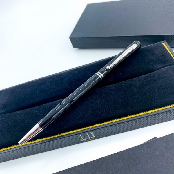 Dunhill Black Lacquer Silver Finish 55 Ballpoint Pen 94 mm Thickness 113933081747