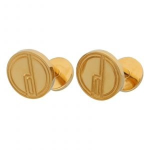 Dunhill Gold Plated Round Disc D Alfred Dunhill Logo Mens Cufflinks 133629166227