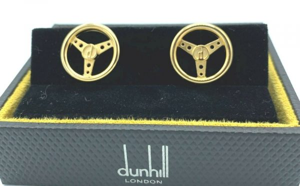 Dunhill JSE5266K Round Gold Plated Sterling Wheel Mens Cufflinks Gift 133083032887 3