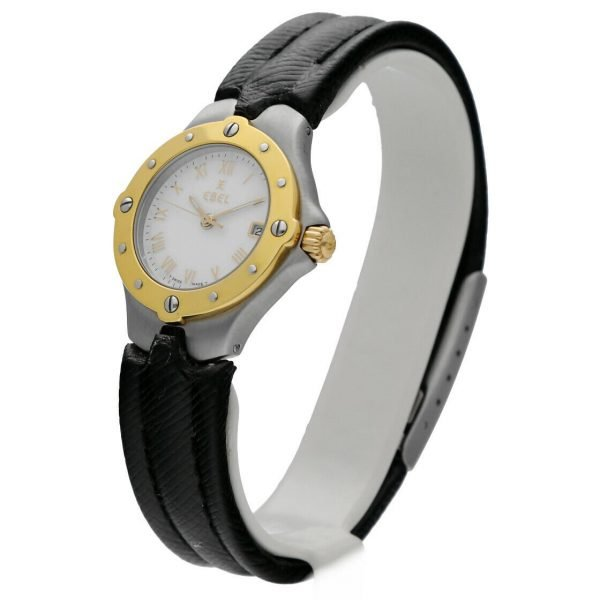 Ebel Classic Wave E6087621 18K Stainless Steel Leather 28mm Quartz Ladies Watch 114155215287 2