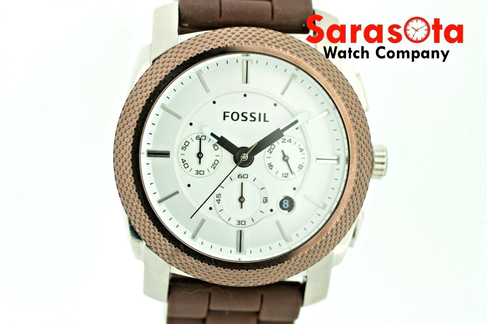 Fossil FS 4596 Chronograph Brown Rubber Date 46mm Silver Dial Quartz Mens Watch 122880117047 2