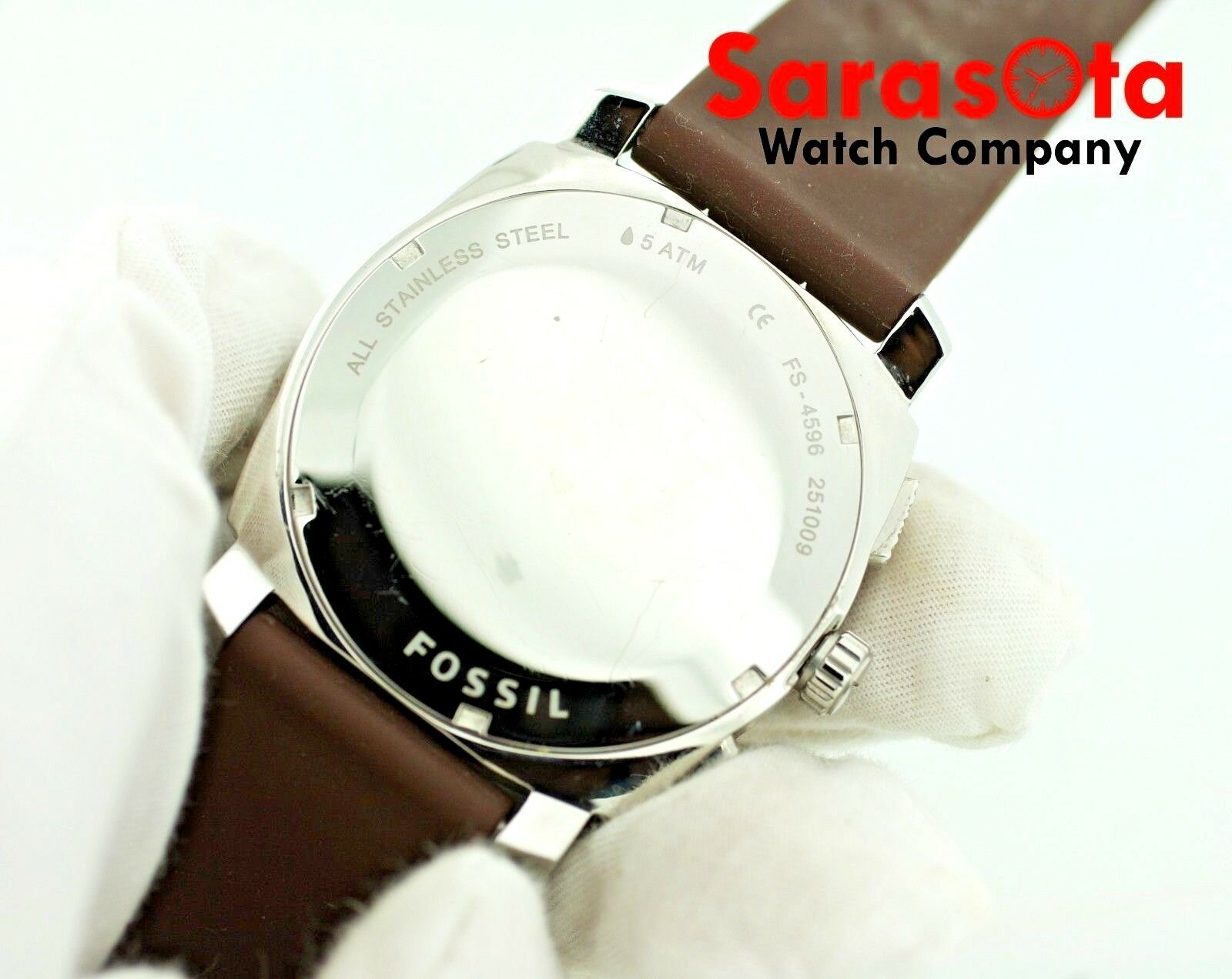 Fossil FS 4596 Chronograph Brown Rubber Date 46mm Silver Dial Quartz Mens Watch 122880117047 6