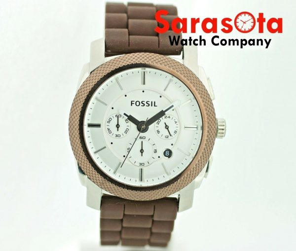 Fossil FS 4596 Chronograph Brown Rubber Date 46mm Silver Dial Quartz Mens Watch 122880117047