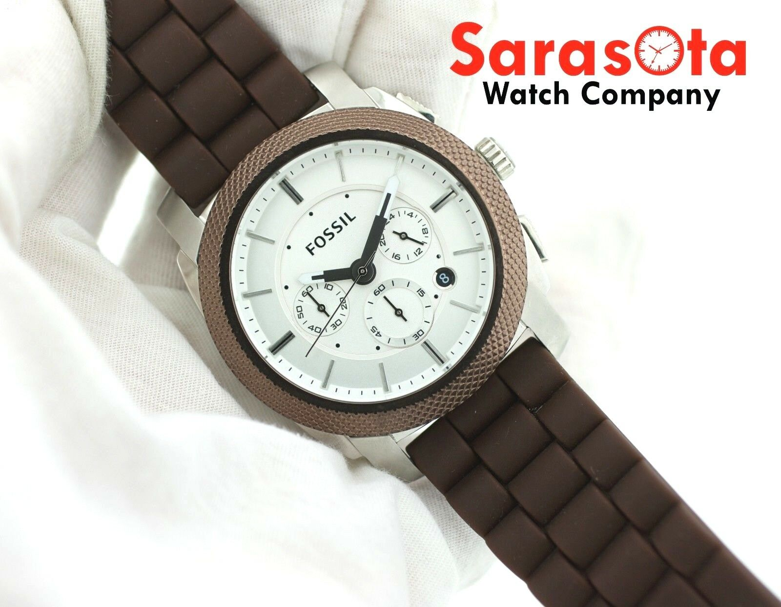 Fossil FS 4596 Chronograph Brown Rubber Date 46mm Silver Dial Quartz Mens Watch 122880117047 7