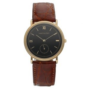 Hamilton Gold Electroplated Round 32mm Black Dial Leather Quartz Wrist Watch 114364473477