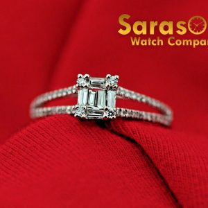 18K White Gold 035Ct BaguetteRound Halo Diamond Engagement Womens Ring Size 6 122786450168