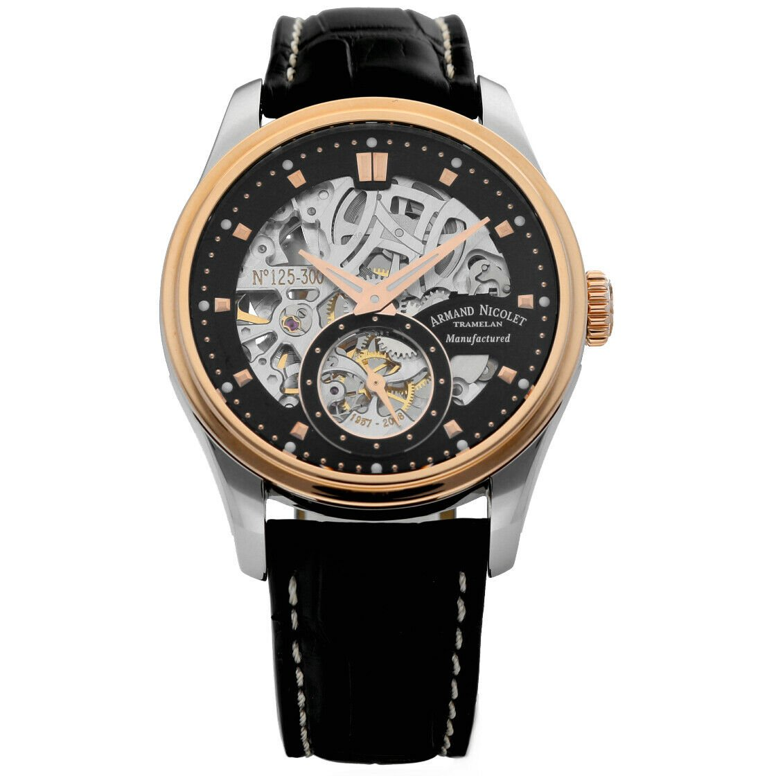 Armand Nicolet D622AAA NS P713NR2 Skeleton Two Tone Manual Wind Mens Watch 114163463718