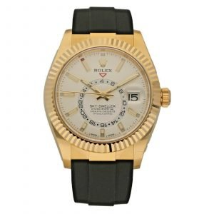 Brand New Rolex 326238 Sky Dweller Champagne 18k Yellow Gold Rubber Wrist Watch 133667214398