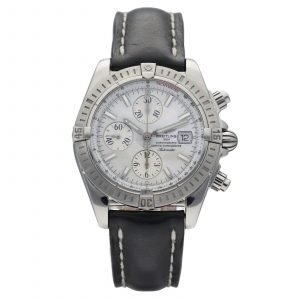 Breitling A13356 Chronomat Evolution MOP Steel 42 Leather Automatic Wrist Watch 124558847148