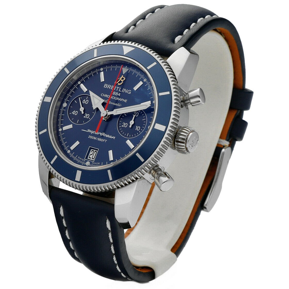 Breitling A23370 Superocean Heritage Blue Dial Chrono Leather Auto Mens Watch 124132399908 2