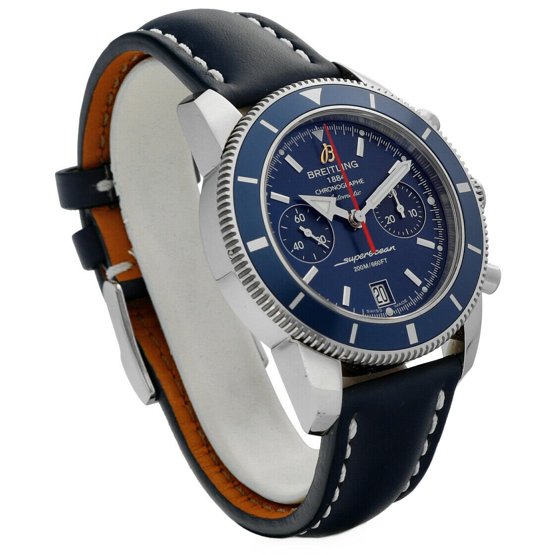 Breitling A23370 Superocean Heritage Blue Dial Chrono Leather Auto Mens Watch 124132399908 3