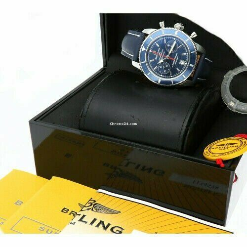 Breitling A23370 Superocean Heritage Blue Dial Chrono Leather Auto Mens Watch 124132399908 8