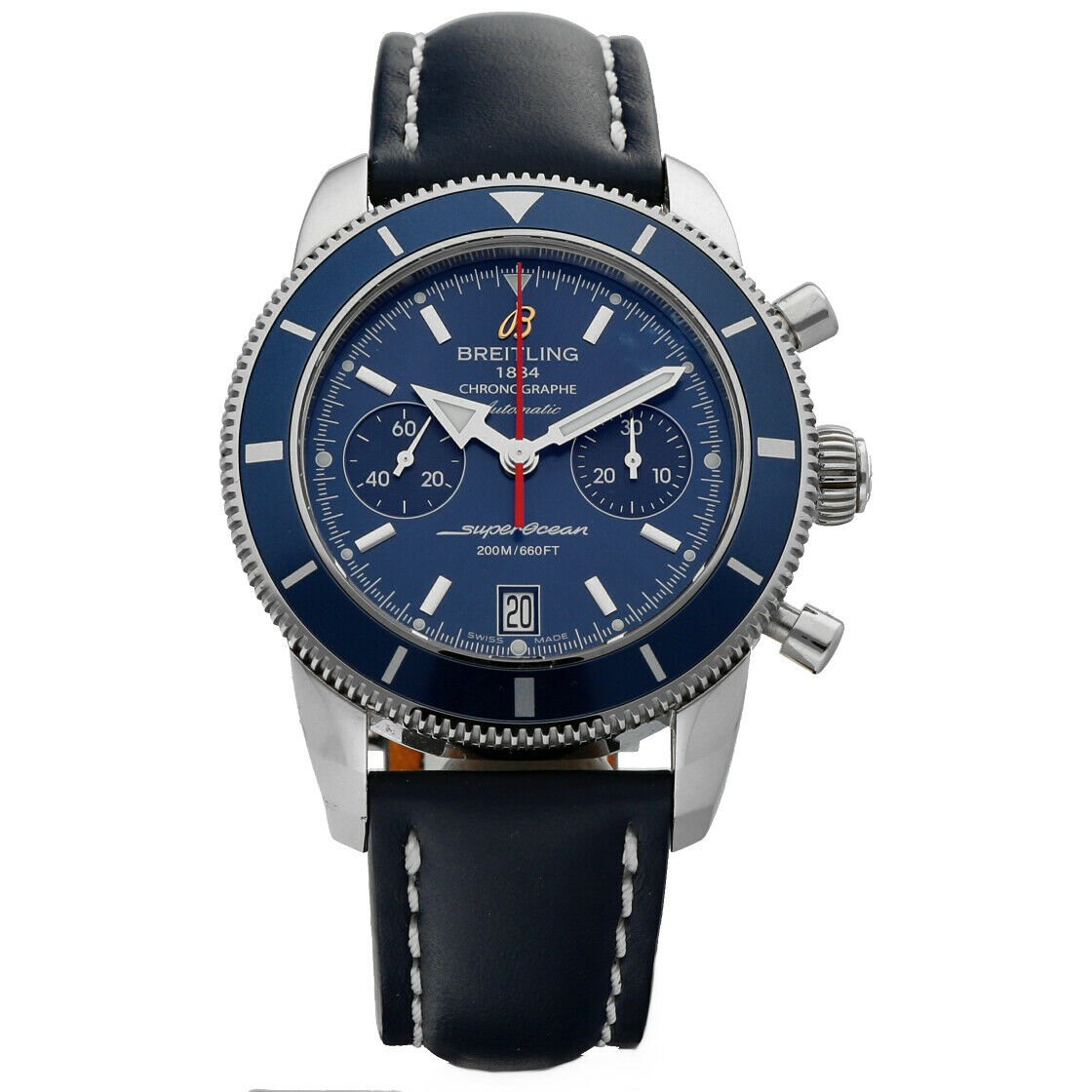 Breitling A23370 Superocean Heritage Blue Dial Chrono Leather Auto Mens Watch 124132399908
