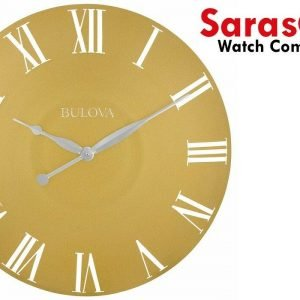 Bulova Lexington C4870 Gold Tone Antique Curved Metal Case 24 Round Wall Clock 113437086648
