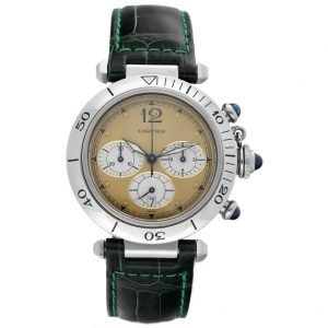 Cartier Pasha 1050 Chronograph Stainless Steel 38mm Leather Quartz Wrist Watch 124559549378