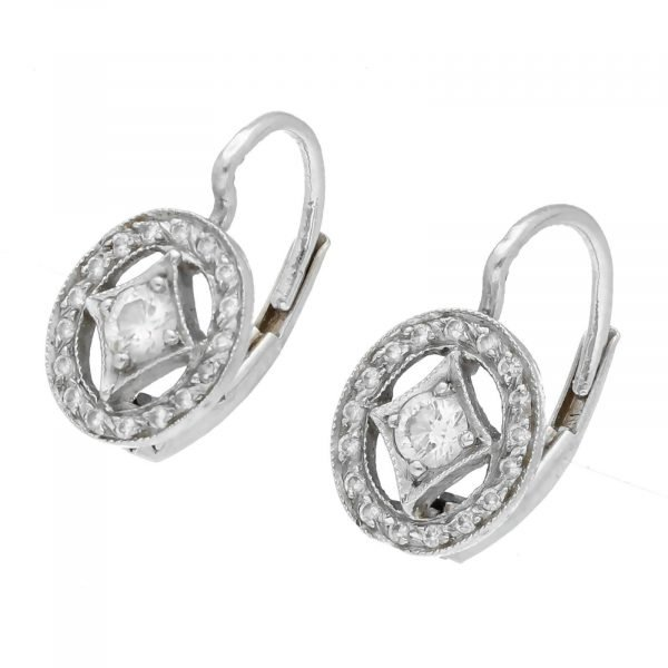 Cathy Waterman Platinum Oval Shape Pave Diamond Lever Back Earrings 114549043498 2