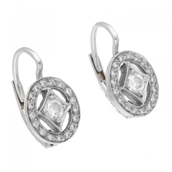 Cathy Waterman Platinum Oval Shape Pave Diamond Lever Back Earrings 114549043498 3