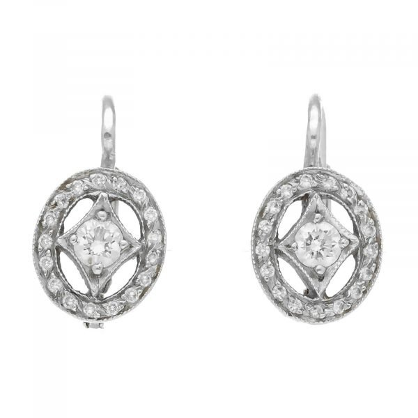Cathy Waterman Platinum Oval Shape Pave Diamond Lever Back Earrings 114549043498
