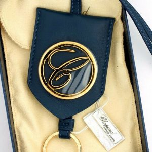 Chopard 95016 0048 Classic Round Logo Navy Leather Rose Gold Bag Charm Keychain 123701981288