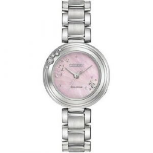 Citizen Eco Drive EM0460 50N Pink MOP Dial Diamond Accented Steel Womens Watch 112070486458