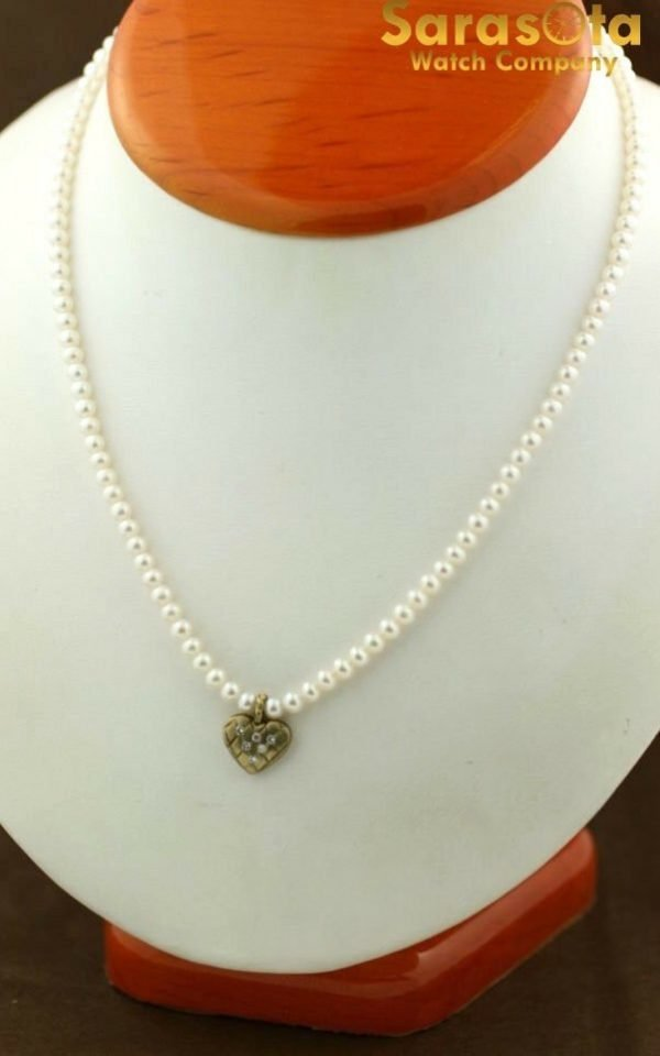 Cultured Pearl Diamond Accented Heart Charm 14K Clasp Womens Necklace 111436661208 2