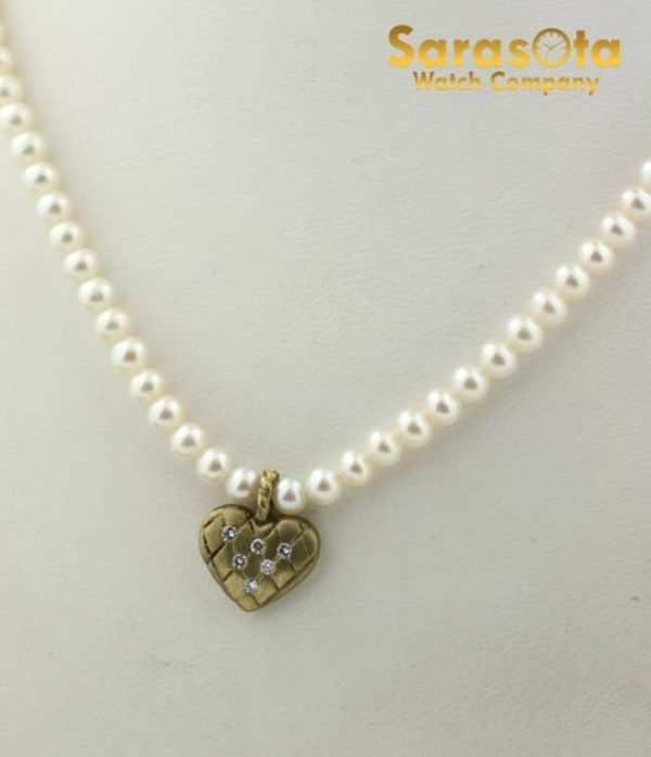 Cultured Pearl Diamond Accented Heart Charm 14K Clasp Womens Necklace 111436661208 3