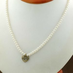 Cultured Pearl Diamond Accented Heart Charm 14K Clasp Womens Necklace 111436661208
