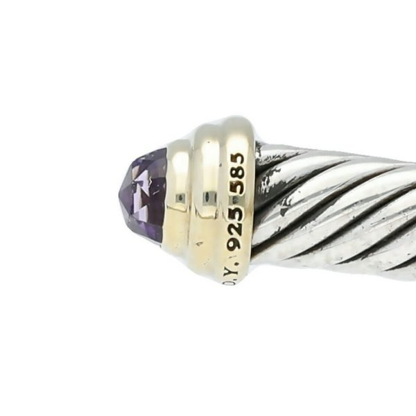 David Yurman 925 585 Gold Amethyst 5mm Classic Cuff Cable Bracelet 65 M Size 124297462358 3