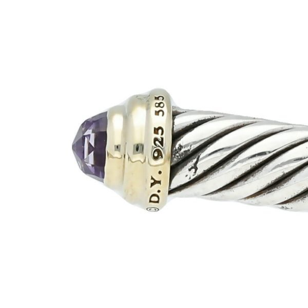 David Yurman 925 585 Gold Amethyst 5mm Classic Cuff Cable Bracelet 65 M Size 124297462358 4