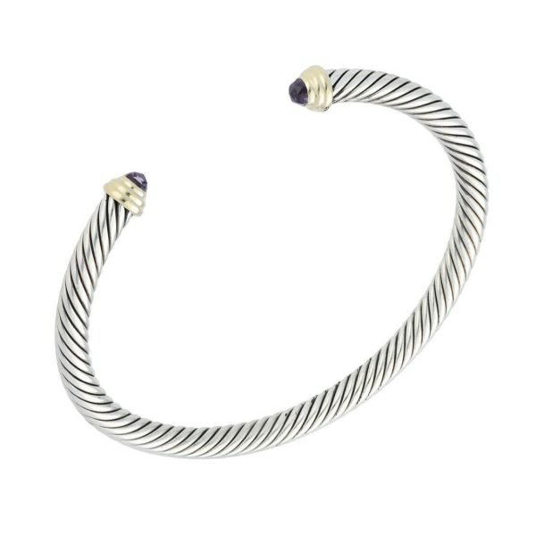 David Yurman 925 585 Gold Amethyst 5mm Classic Cuff Cable Bracelet 65 M Size 124297462358