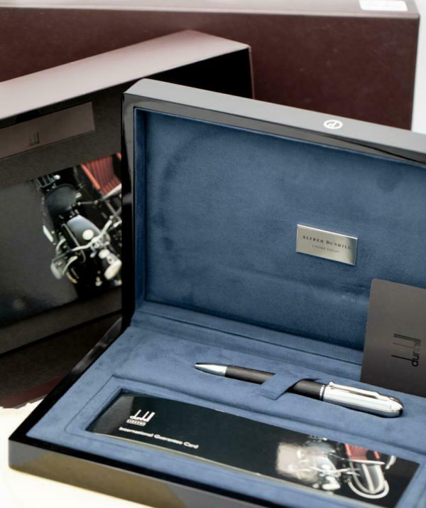 Dunhill Limited Edition Sidecar Black Leather Chrome Chassis Ballpoint 55 Pen 133244161328 2