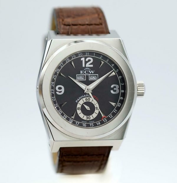 ECW European Company Panhard M31 Black Dial Leather 41mm Automatic Mens Watch 114012973258 2