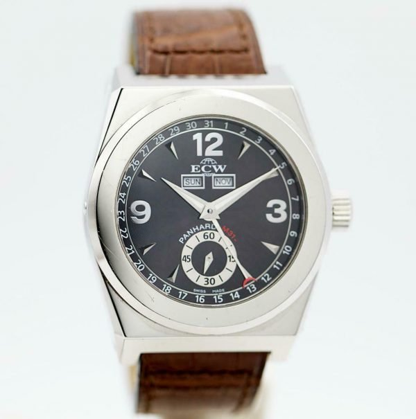ECW European Company Panhard M31 Black Dial Leather 41mm Automatic Mens Watch 114012973258