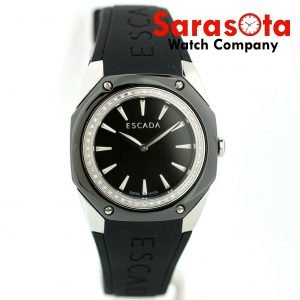 ESCADA Naomi Black Ceramic Steel Case Diamond Bezel Rubber Quartz Wrist Watch 112671263078