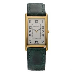 Hamilton 46016 Gold Plated Rectangle Arabic Green Leather Quartz Wrist Watch 133496953628