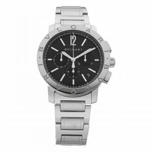 BVLGARI BB 41 S CH Chronograph Stainless Steel Black Dial Automatic Mens Watch 124264133639