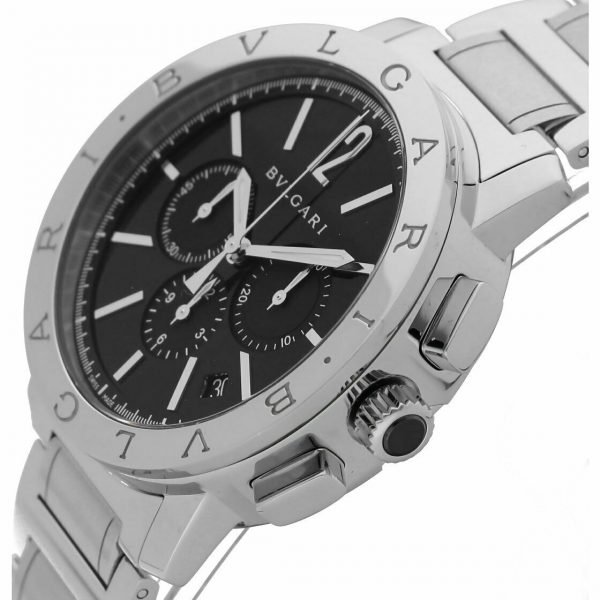 BVLGARI BB 41 S CH Chronograph Stainless Steel Black Dial Automatic Mens Watch 124264133639 4