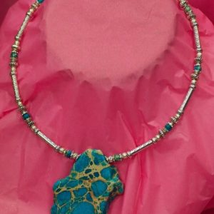 Beautiful Hand Made Choker Necklace with Turquoise Design by Ivana Ruzzo 112051209229